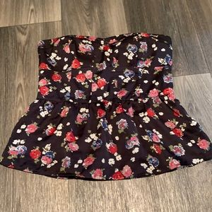 American Eagle strapless floral peplum top